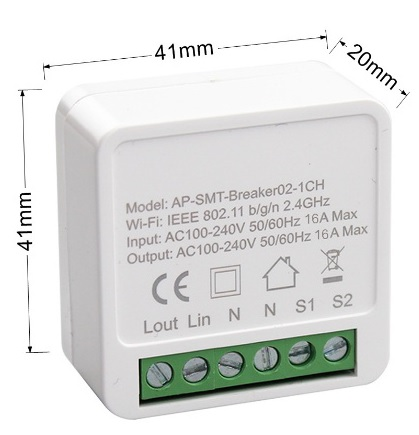 Mini switch 1 circuito WiFi Inteligente TuyaSmart con medidas